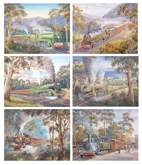 6 Placemats + 6 Coasters - Australia,Cork - Trains,Locomotives,Country,Gum Trees