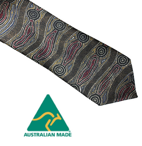 Aboriginal Men's Suit Tie - Australia, Yijan Water Dreaming, Brown, Nampajimpa