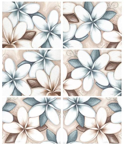6 PLACEMATS + 6 COASTERS SET - AUSTRALIAN CINNAMON - OCEAN FRANGIPANI FLOWERS