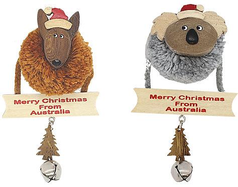 2 x CHRISTMAS TREE HANGING ORNAMENTS - AUSTRALIAN POMPOM KOALA & KANGAROO