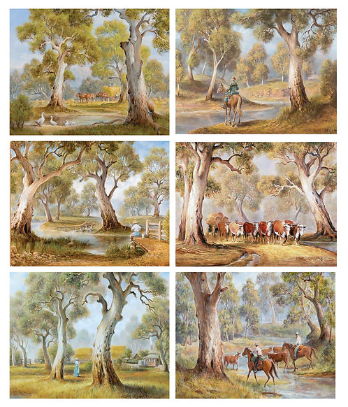 6 Placemats + 6 Coasters - Australia, Cork - Redgum Country,Eucalyptus,Horse,Cow