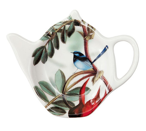 Teabag, Tea Bag Tidy, Spoon Holder- Australia, Blue Wren Bird, Desert Pea Flower