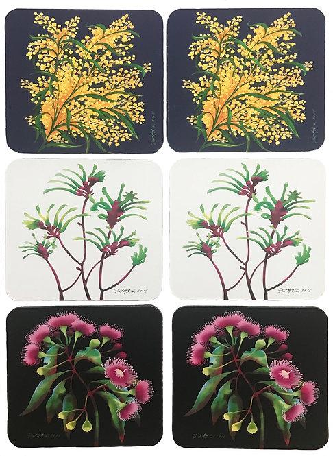 6 Coasters - Australia,Native Flora,Flowers,Wattle,Flowering Gum,Kangaroo Paw