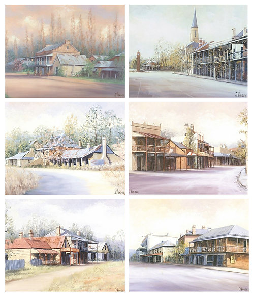 6 PLACEMATS + 6 COASTERS - COUNTRY TOWNS, AUSTRALIA, CINNAMON, CORK