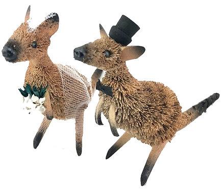 WEDDING CAKE TOPPERS - BRIDE & GROOM - AUSTRALIAN ANIMAL - KANGAROOS