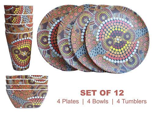 12-Piece Bamboo Picnic Set - 4 Plates,4 Bowls,4 Cups - Australia,Aboriginal Land