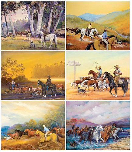 6 Placemats + 6 Coasters - Australia,Cork - Man From Snowy River, Horses, Cattle