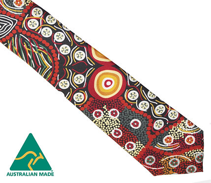 Aboriginal Men's Suit Tie - 100% Silk - Wild Coconut - Australian Made