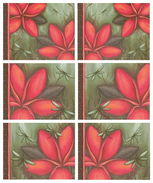 6 PLACEMATS + 6 COASTERS SET-AUSTRALIAN CINNAMON-FRANGIPANI FLOWERS,LISA POLLOCK