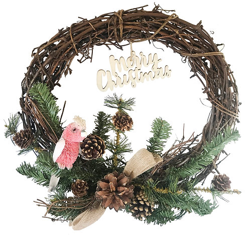 "30cm / 12"" CHRISTMAS GRAPEVINE WREATH - HANDMADE - AUSTRALIAN BIRD, PINK GALAH"