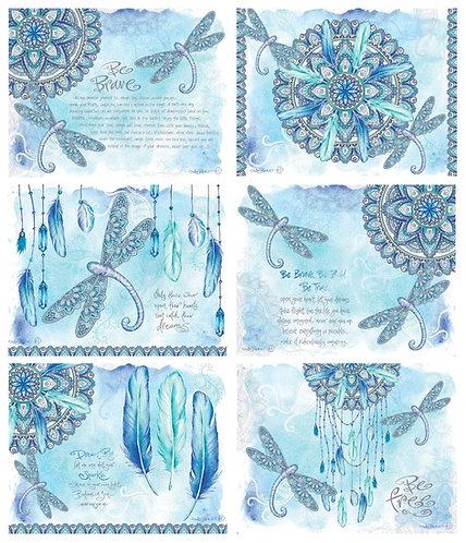 6 Placemats + 6 Coasters - Australia, Cork - Mandala Dragonfly, Lisa Pollock
