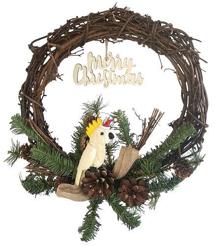 "30cm / 12"" CHRISTMAS GRAPEVINE WREATH - HANDMADE - AUSTRALIAN WHITE COCKATOO"