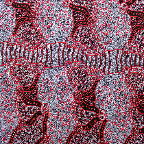 ABORIGINAL FABRIC - COTTON - AUSTRALIA - WOMEN DREAMING BLACK - PER METRE