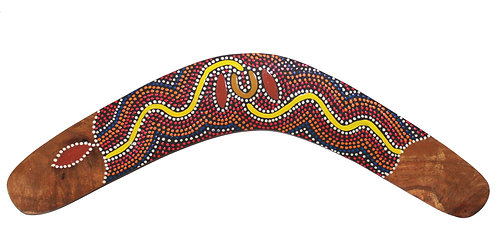 "14"" / 35cm HARDWOOD TWISTED BOOMERANG - AUSTRALIAN ABORIGINAL DOT ART"