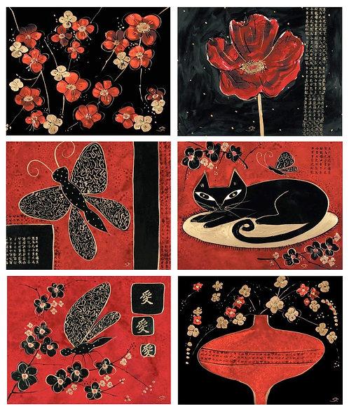 6 Placemats - Australia, Cork - Oriental, Cat, Flowers, Blossom, Butterfly