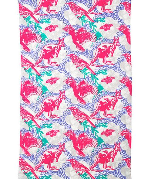 Tea Towel, Kitchen Towel - Cotton - Australia,Kangaroo,Cockatoo,Kangaroo,Magpie