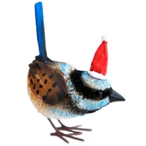 SUPERB FAIRY BLUE WREN - CHRISTMAS TREE HANGING ORNAMENT - AUSTRALIAN BIRD