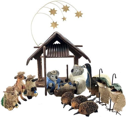15-Piece Australian Animals & Birds Christmas Nativity Scene, Display, Souvenir