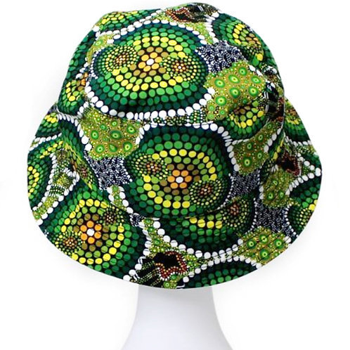 Aboriginal Bucket Hat,Adult Size - Soft Cotton - Australia,Colours of Rainforest