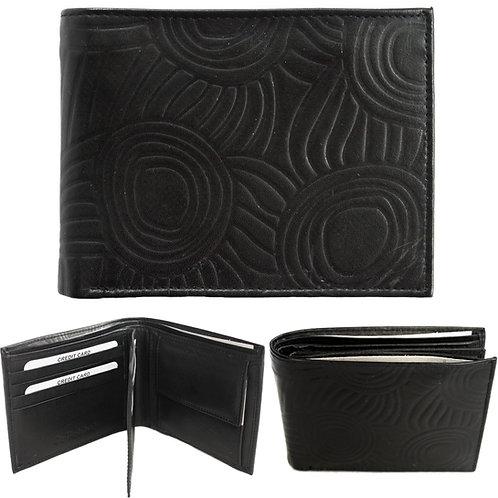 100% Leather Wallet, Black - Men's, Unisex - Australia, Aboriginal Art, Iwantja