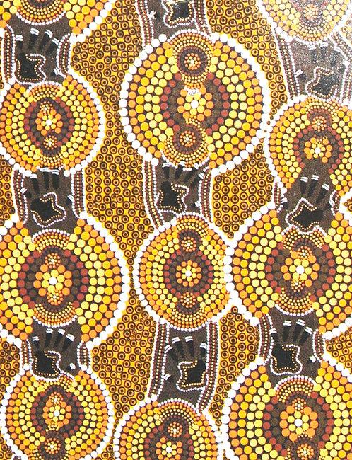 ABORIGINAL TEA TOWEL, KITCHEN TOWEL - COTTON - AUSTRALIA, BELONGING TO THE LAND