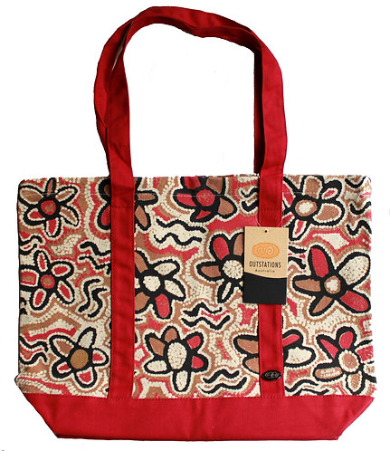 Aboriginal Tote Bag, Shopping Bag, Beach Bag, Day Bag - Australia, Tasman, Red