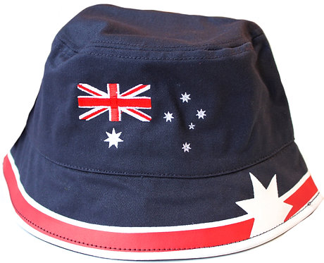 Bucket Hat, 58cm - Adult, Unisex - 100% Cotton - Australia Flag, Australia Day