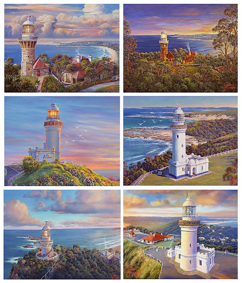 6 Placemats + 6 Coasters - Australia, Cork - Coastal Icons, Lighthouses, Ocean