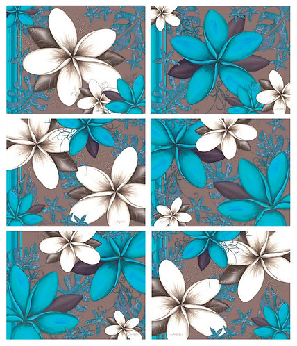 6 Placemats + 6 Coasters - Australia, Cork - Aqua Frangipani Flowers, Pollock