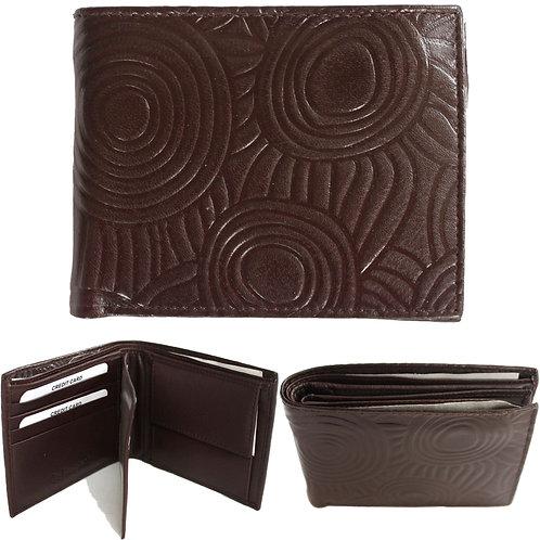 100% Leather Wallet, Brown - Men's, Unisex - Australia, Aboriginal Art, Iwantja