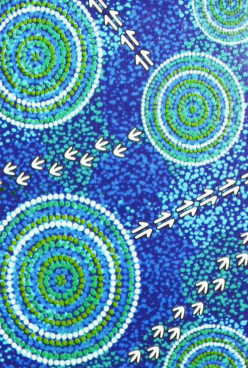 ABORIGINAL TEA TOWEL, KITCHEN TOWEL - COTTON - AUSTRALIA, LUTHER CORA WET