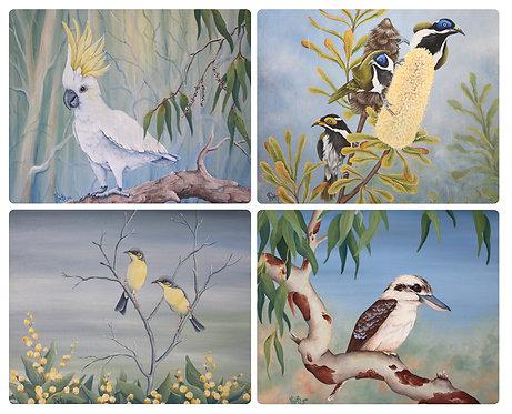 4 Placemats - Australia,Cockatoo,Kookaburra,Blue Wren,Birds,Natives,Waterproof