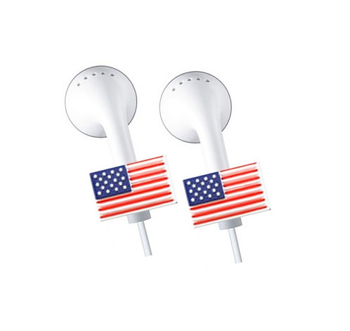 2 x Apple iPhone, iPad, iPod Earphone, Earbuds *Bling* Accessories - U.S.A Flag
