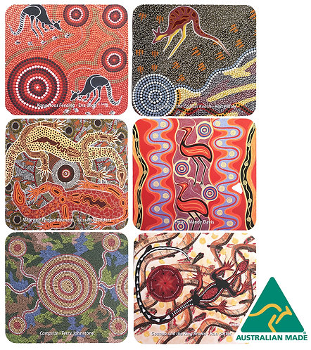 6 Coasters - Australia, Aboriginal Art, Tobwabba Earth, Kangaroo, Goanna, Emu