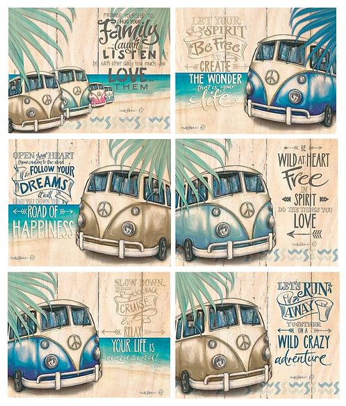 6 Placemats + 6 Coasters - Australia, Cork - Vintage Kombi Vans, Beach, Pollock