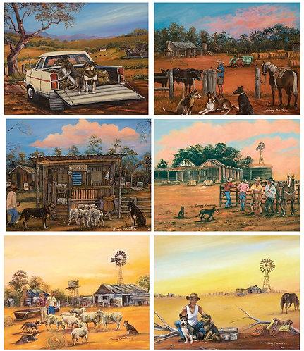 6 Placemats + 6 Coasters - Australia, Cork - Kelpie Kapers,Dogs,Cattle,Farm,Ute