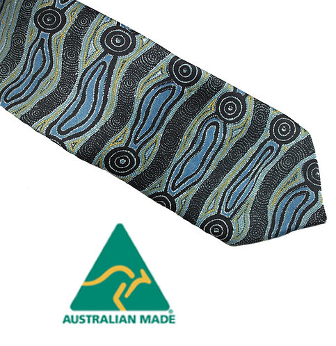 Aboriginal Men's Suit Tie - Australia, Yijan Water Dreaming, Blue, Nampajimpa