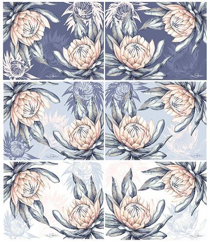 6 PLACEMATS + 6 COASTERS - PROTEAS, FLOWERS, POLLOCK, AUSTRALIA, CINNAMON, CORK