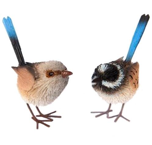 2 x Fairy Blue Wren Birds - Standing Ornaments - Australia, Male & Female Pair