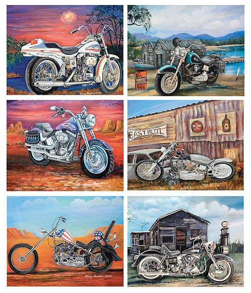6 Placemats + 6 Coasters - Australia, Cork - American Classic Motorbikes, Cycles