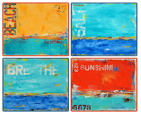 4 Coasters - Australia, Abstract Art, Ocean, Beach, Sun, Waterproof