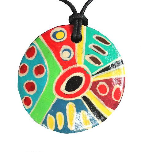 Aboriginal Pendant, Necklace, 5cm Round - Australia, Keringke, Marie Young
