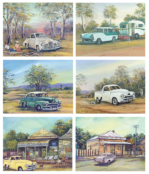 6 Placemats + 6 Coasters - Australia, Cork - Old Holden Cars, Classic Vehicles