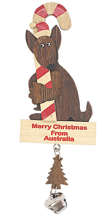 KANGAROO - CHRISTMAS TREE HANGING ORNAMENT - WOODEN - AUSTRALIA - CANDY CANE