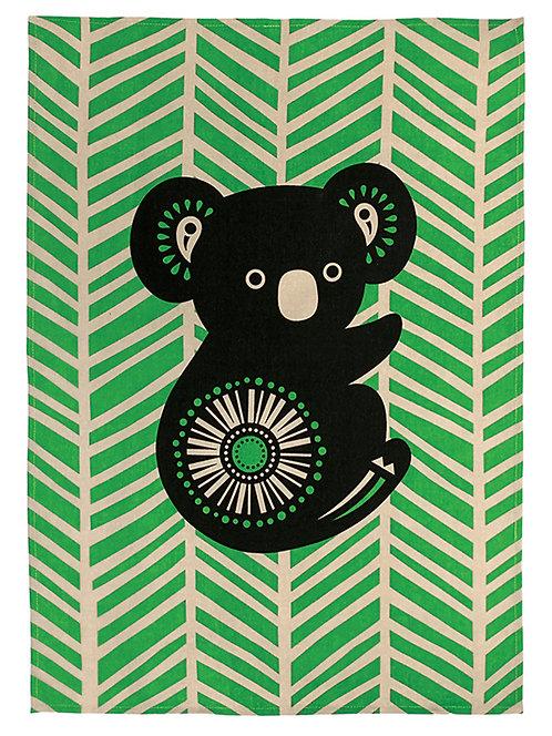 Tea Towel, Kitchen Towel - 100% Cotton - Australian Animal, Koala, Retro