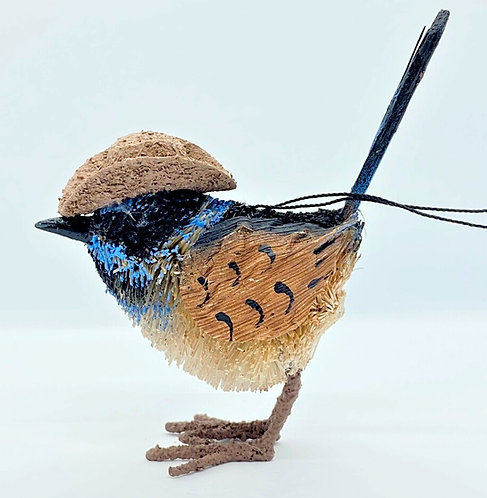 BLUE WREN WITH AKUBRA HAT - CHRISTMAS TREE HANGING ORNAMENT - AUSTRALIAN BIRD