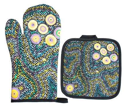 Aboriginal Oven Mitt & Pot Holder - Gift Set - Australia, Seven Sisters Dreaming