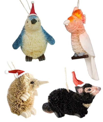 4 x CHRISTMAS, XMAS TREE HANGING ORNAMENTS- AUSTRALIAN ANIMALS & BIRDS, SOUVENIR