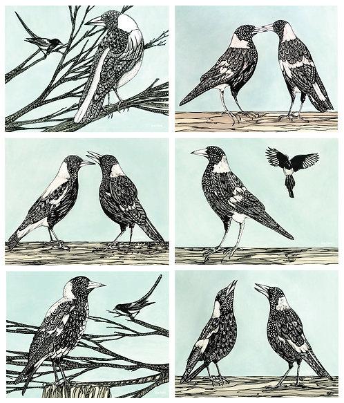 6 PLACEMATS + 6 COASTERS - MAGPIE SONG, BIRDS, AUSTRALIA, CINNAMON, CORK