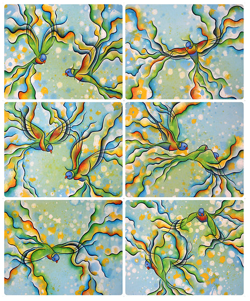 6 Placemats - Australia, Rainbow Lorikeet Birds, Waterproof